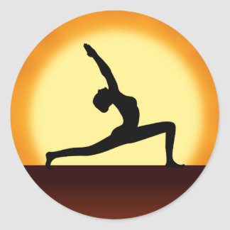 Yoga Pose Woman Silhouette Sunrise Round Stickers