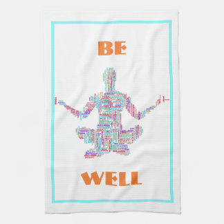 Yoga Pose Word Cloud Personalized Tea Towel