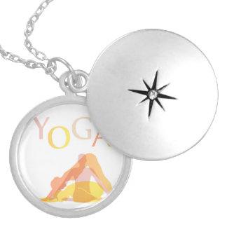 Yoga poses locket necklace