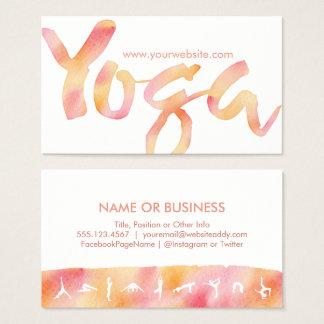 YOGA Poses Pink Lemonade Watercolor Business Cards