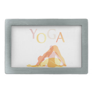 Yoga poses rectangular belt buckle
