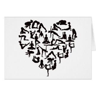 Yoga Poses Silhouettes Heart Card