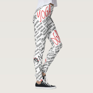 Yoga Positions Black and Red Asanas Leggings