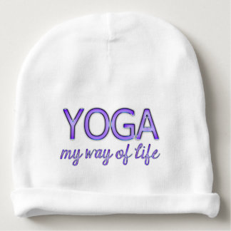 Yoga Purple Text Shiny Metallic Look Typography Baby Beanie