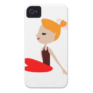 Yoga  red woman on white Case-Mate iPhone 4 case