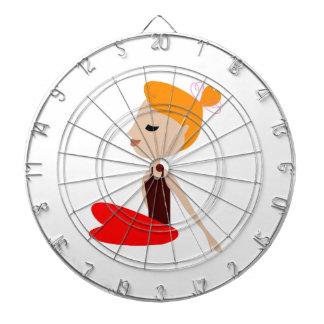 Yoga  red woman on white dartboard