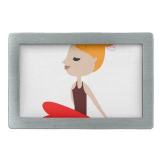 Yoga  red woman on white rectangular belt buckle