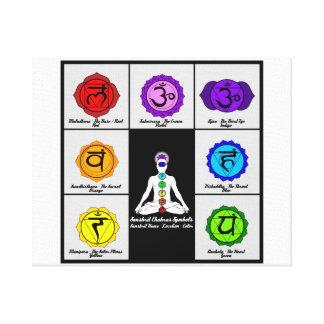 Yoga Reiki Seven Chakras Symbols Chart Canvas. Canvas Prints