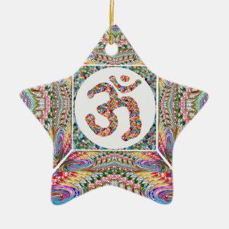 YOGA Room and OM Mantra at Back n Center Ceramic Ornament