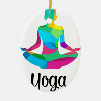 Yoga setting and fitness ceramic oval decoration