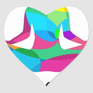 Yoga setting and fitness heart sticker
