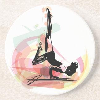 Yoga sketch woman illustration beverage coasters