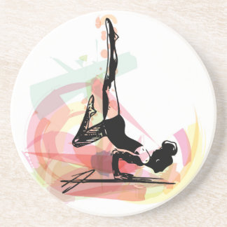 Yoga sketch woman illustration coaster