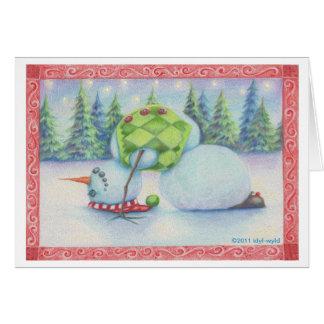 Yoga snowman christmas card/ scandinavian flair card