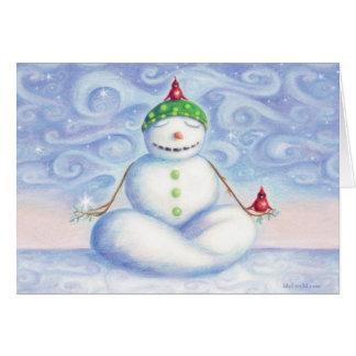 Yoga snowman greeting card by idyl-wyld design