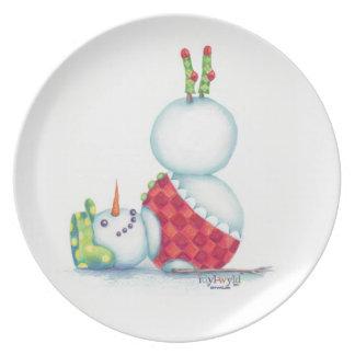 Yoga Snowman Plate