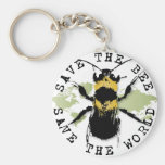 Yoga Speak : Save the Bee...Keychain Basic Round Button Key Ring