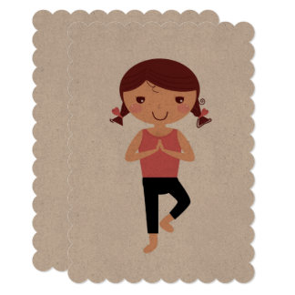 Yoga spring easter paper greeting card