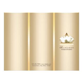 Yoga Studio Gold Lotus Logo Spa Tri-Fold Brochures 21.5 Cm X 28 Cm Flyer