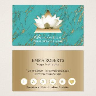 Yoga Studio Gold Lotus Modern Turquoise Loyalty Business Card