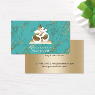Yoga Studio Modern Turquoise & Gold Marble Business Card