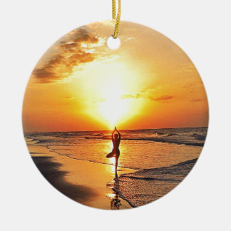 Yoga Sunrise Round Ceramic Decoration
