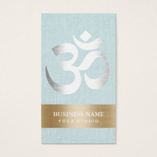 Yoga Teacher Silver Om Sign Light Blue Linen Business Card