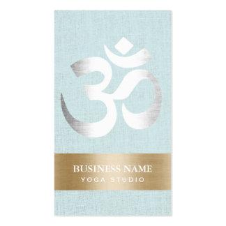 Yoga Teacher Silver Om Sign Light Blue Linen Pack Of Standard Business Cards