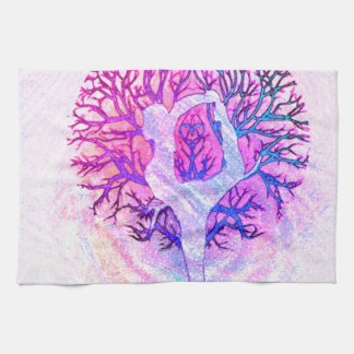 Yoga Tree Pastel Rainbow Tea Towel