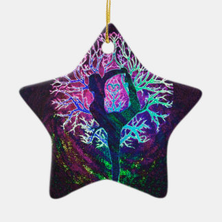 Yoga Tree Peace Rainbow Ceramic Star Decoration