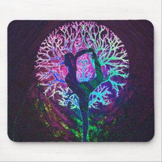 Yoga Tree Peace Rainbow Mouse Pad