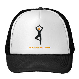 Yoga tree pose black, orange custom cap