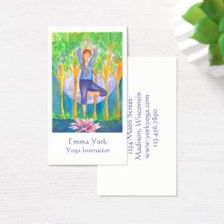 Yoga Tree Pose Full Moon Business Card
