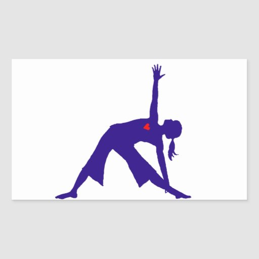 Yoga Triangle Pose Silhouette With Heart Sticker
