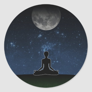 Yoga Under The Moon Round Sticker