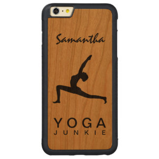 Yoga Warrior Pose Silhouette Wood iPhone 6 6S Plus Carved Cherry iPhone 6 Plus Bumper Case