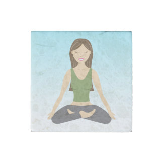 Yoga Woman In Lotus Pose Stone Magnet