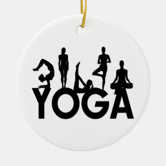 Yoga Women Silhouettes Double-Sided Ceramic Round Christmas Ornament
