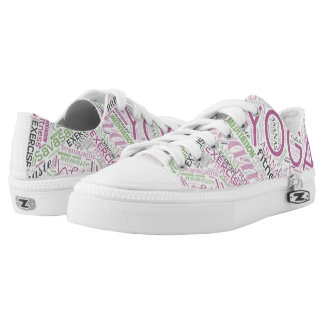 Yoga Word Cloud Plum/Green ID254 Printed Shoes