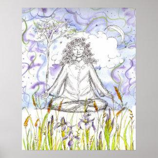 Yoga Zen Meditation Wild Iris Flowers Poster