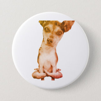 Yogi Doggie cute dog in yoga asana, cool funny 7.5 Cm Round Badge