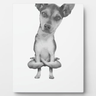 Yogi Doggie cute dog in yoga asana, cool funny Plaque