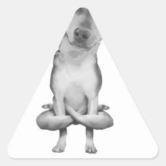 Yogi Doggie cute dog in yoga asana, cool funny Triangle Sticker