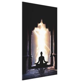 Yogi in full zen meditation yoga chakra energy canvas print