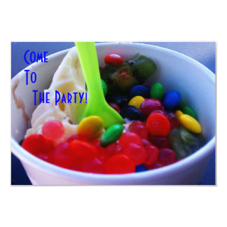 "Yogurt and Fixins Bright Color Candy Invite 3.5"" X 5"" Invitation Card"