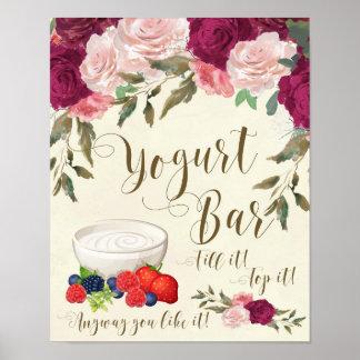 yogurt bar sign wedding ivory pink floral