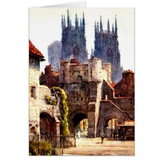 Yok Minster Bootham Bar Entrance Color Cathedral Card
