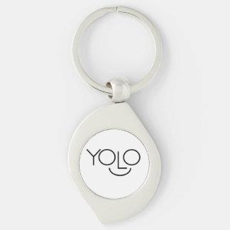 YOLO Keychain Silver-Colored Swirl Key Ring