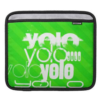 Yolo; Neon Green Stripes iPad Sleeves