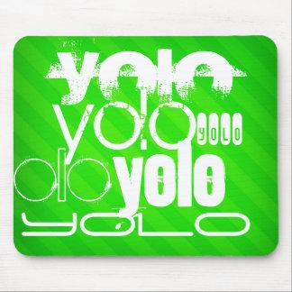 Yolo; Neon Green Stripes Mouse Pad
